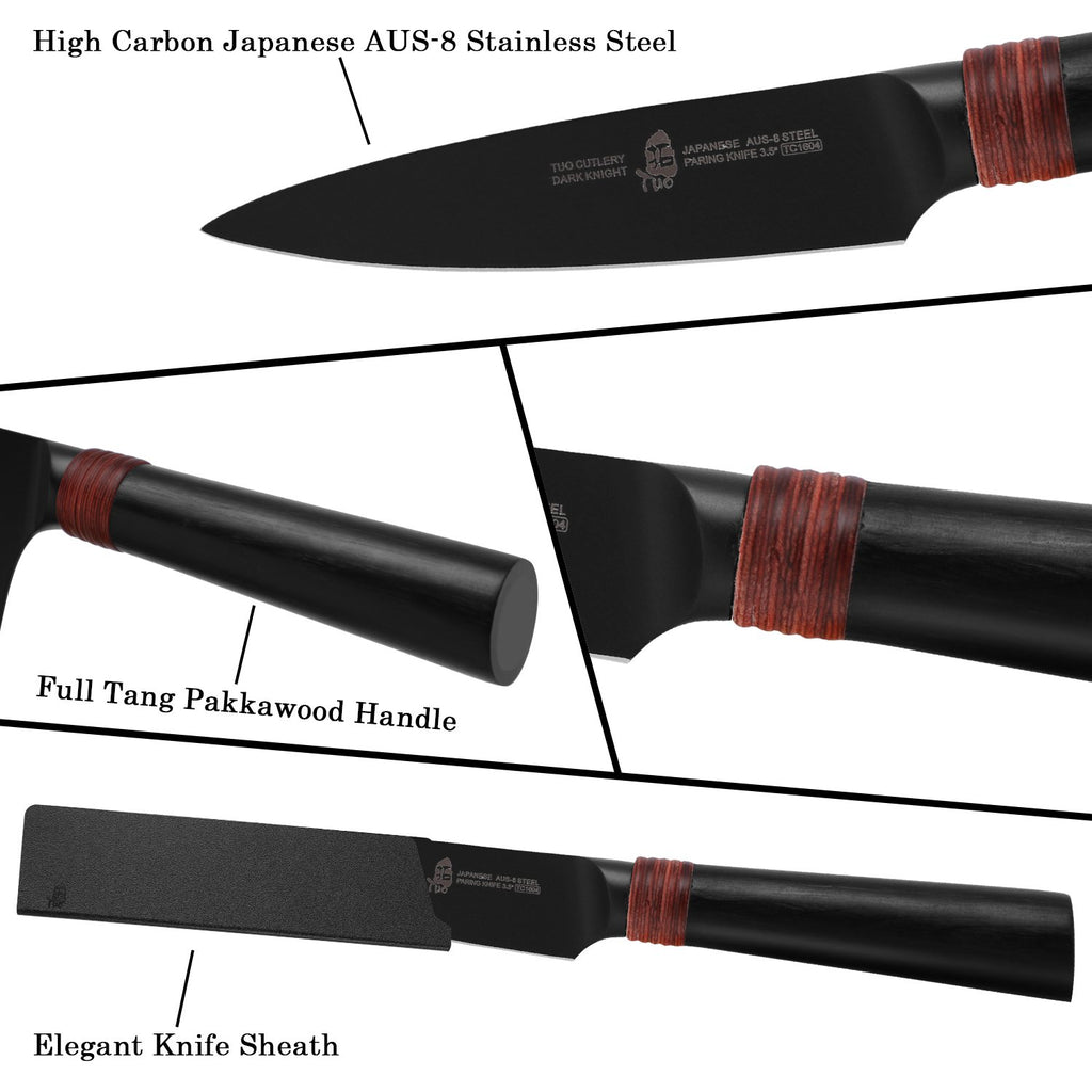 paring knife, dark knight, tuo cutlery, cutlery, tuo knife, kitchen knives, fruit knife