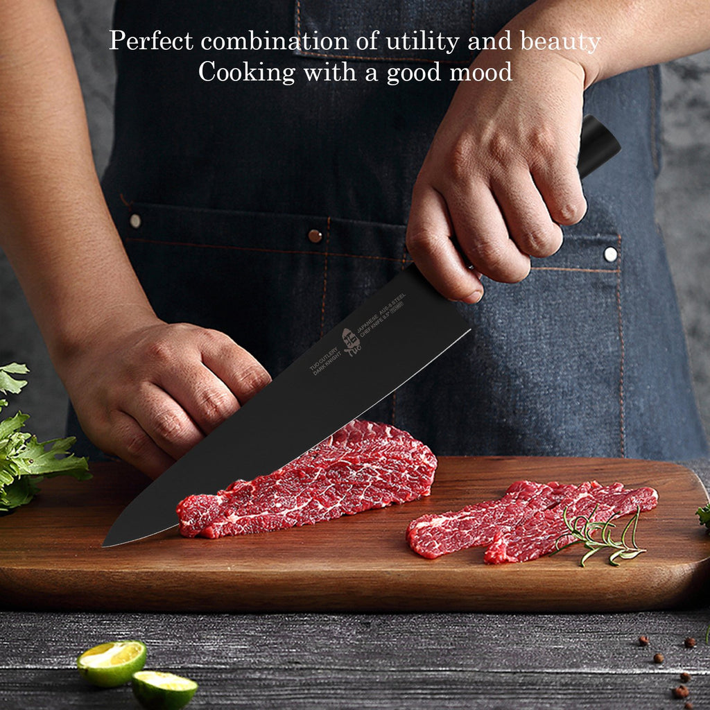 chef knife, dark knight knife, tuo knives, tuo cutlery, kitchen knives, chef, home cooking