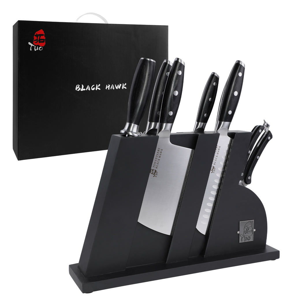 Tuo Cutlery, Knife Set, Wooden Block, Professional and Classic Chef Knife Set, Multipurpose Knife, Premium High Carbon Stainless Steel, Full Tang, Ergonomics handle, Kitchen Knives, Kitchenware, Cookware