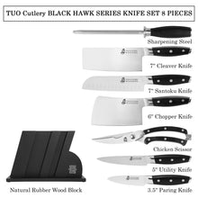 Load image into Gallery viewer, Tuo Cutlery, Knife Set, Wooden Block, Professional and Classic Chef Knife Set, Multipurpose Knife, Premium High Carbon Stainless Steel, Full Tang, Ergonomics handle, Kitchen Knives, Kitchenware, Cookware