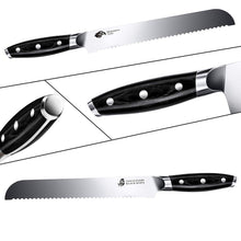 Load image into Gallery viewer, Tuo Cutlery, Bread Knife, Serrated Slicing Knife, Premium High Carbon Stainless Steel, Full Tang, Ergonomics handle, Cuts Thick Loaves Effortlessly, Ideal for Slicing Bread and Cake, Bread Cutter for Homemade Crusty Bread