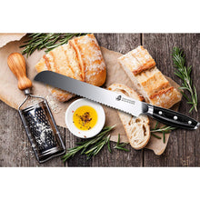 Load image into Gallery viewer, Tuo Cutlery, Bread Knives, Serrated Slicing Knives, Premium High Carbon Stainless Steel, Full Tang, Ergonomics handle, Cuts Thick Loaves Effortlessly, Ideal for Slicing Bread and Cake, Bread Cutter for Homemade Crusty Bread