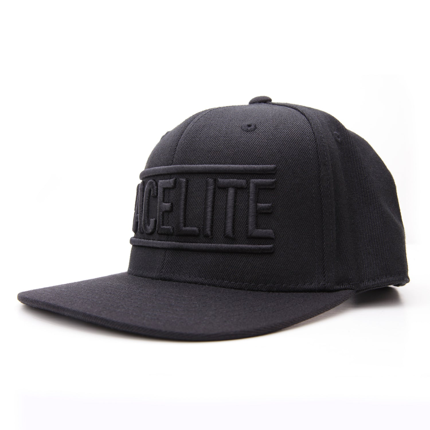 Racelite Designs Flat Brim Black Emblem Flex Snap Back Hat Product View 1