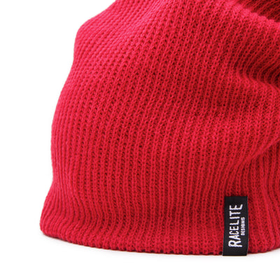 Racelite Designs Red Slouch Beanie Detailed View