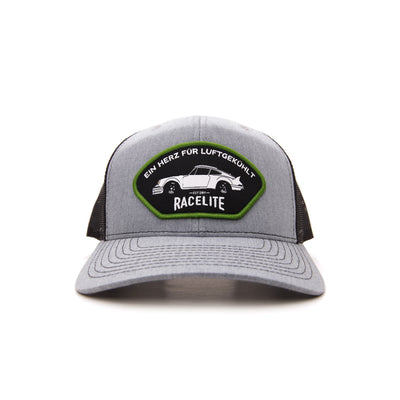 Racelite Designs Heart Of Air-Cooled Heather Grey Woven Patch 6 Panel Hat Front View