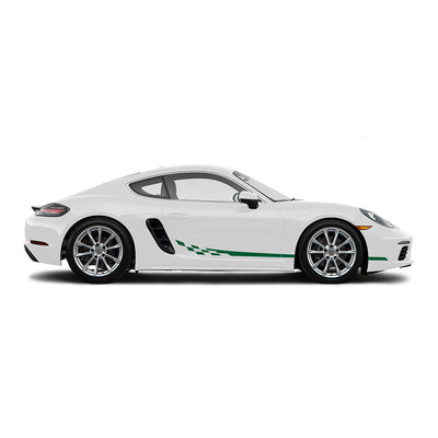 Racelite Designs Porsche Cayman 718 Checkered Flag Stripe Kit Forest Green