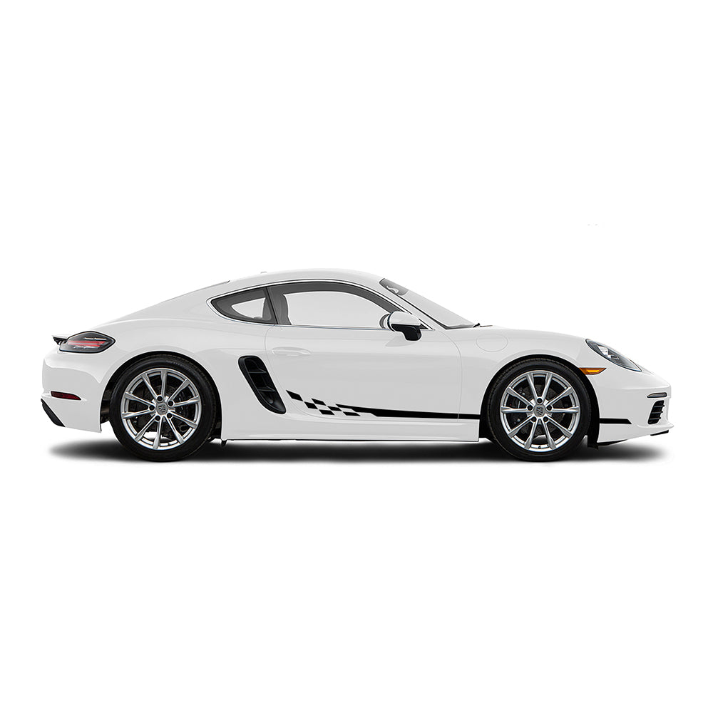 Racelite Designs Porsche Cayman 718 Checkered Flag Stripe Kit Gloss Black