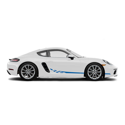Racelite Designs Porsche Cayman 718 Checkered Flag Stripe Kit Gloss Blue