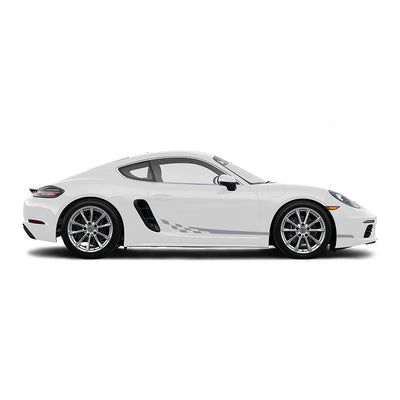Racelite Designs Porsche Cayman 718 Checkered Flag Stripe Kit Gloss Metallic Silver