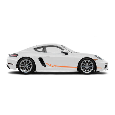 Racelite Designs Porsche Cayman 718 Checkered Flag Stripe Kit Gloss Orange