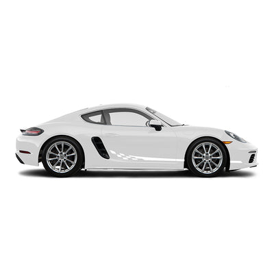 Racelite Designs Porsche Cayman 718 Checkered Flag Stripe Kit Gloss White