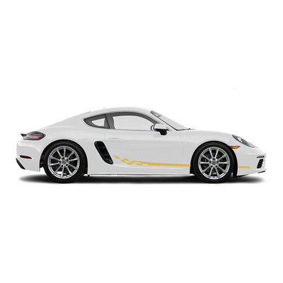 Racelite Designs Porsche Cayman 718 Checkered Flag Stripe Kit Gloss Yellow