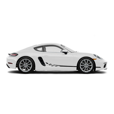 Racelite Designs Porsche Cayman 718 Checkered Flag Stripe Kit Matte Black