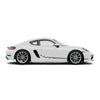 Racelite Designs Porsche Cayman 718 Checkered Flag Stripe Kit Matte Metallic Silver