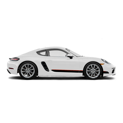 Racelite Designs Porsche Cayman 718 Classic RS Stripe Kit Gloss Red - Gloss Black