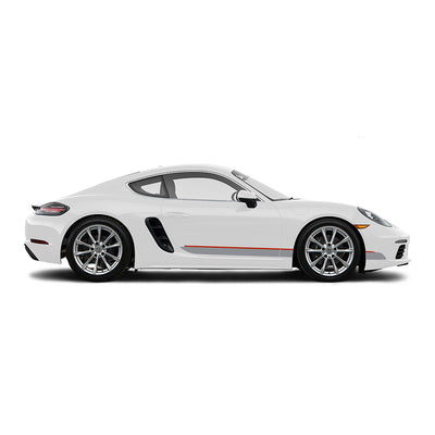 Racelite Designs Porsche Cayman 718 Classic RS Stripe Kit Gloss Red - Gloss Metallic Silver