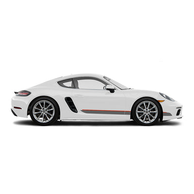 Racelite Designs Porsche Cayman 718 Classic RS Stripe Kit Gloss Red - Matte Metallic Silver