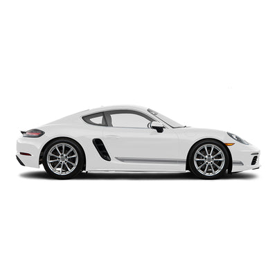 Racelite Designs Porsche Cayman 718 Classic Stripe Kit Gloss Metallic Silver