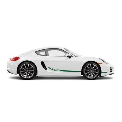 Racelite Designs Porsche Cayman 981 Checkered Flag Stripe Kit Forest Green
