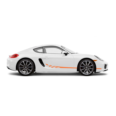 Racelite Designs Porsche Cayman 981 Checkered Flag Stripe Kit Gloss Orange