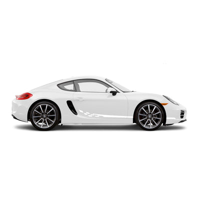 Racelite Designs Porsche Cayman 981 Checkered Flag Stripe Kit Gloss White