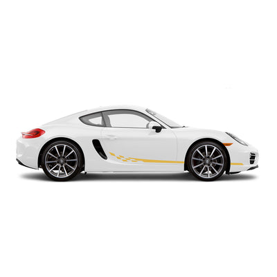 Racelite Designs Porsche Cayman 981 Checkered Flag Stripe Kit Gloss Yellow