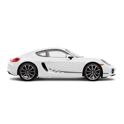 Racelite Designs Porsche Cayman 981 Checkered Flag Stripe Kit Matte Metallic Silver