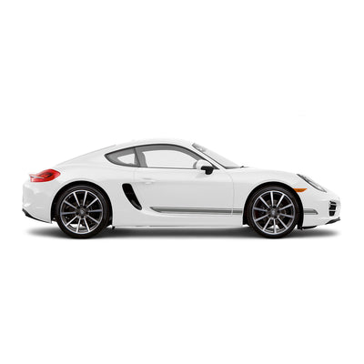 Racelite Designs Porsche Cayman 981 Classic Stripe Kit Matte-Metallic-Silver-View 1