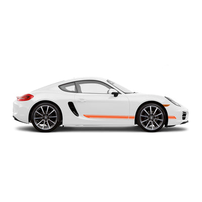 Racelite Designs Porsche Cayman 981 Classic Stripe Kit Gloss-Orange-View 1