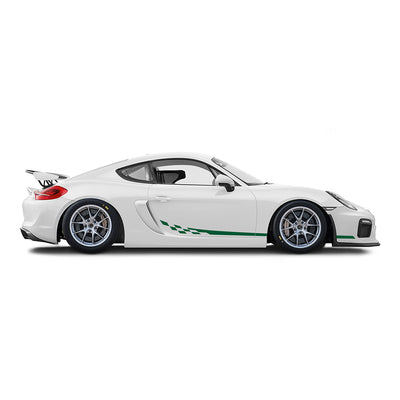 Racelite Designs Porsche Cayman GT4 Clubsport Checkered Flag Stripe Kit Forest Green