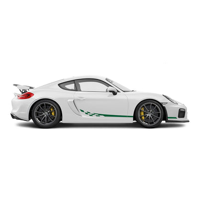 Racelite Designs Porsche Cayman GT4 Checkered Flag Stripe Kit Forest Green
