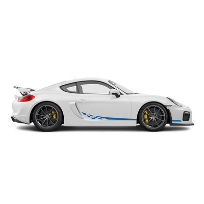 Racelite Designs Porsche Cayman GT4 Checkered Flag Stripe Kit Gloss Blue