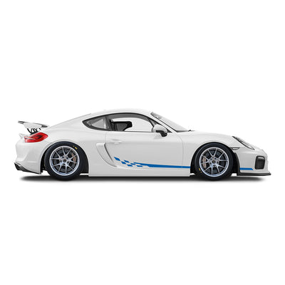 Racelite Designs Porsche Cayman GT4 Clubsport Checkered Flag Stripe Kit Gloss Blue