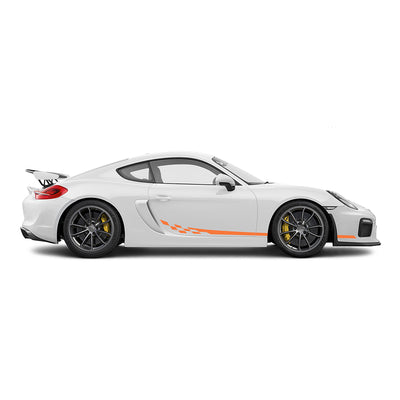 Racelite Designs Porsche Cayman GT4 Checkered Flag Stripe Kit Gloss Orange