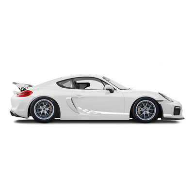 Racelite Designs Porsche Cayman GT4 Clubsport Checkered Flag Stripe Kit Gloss White