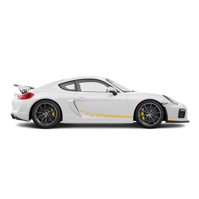 Racelite Designs Porsche Cayman GT4 Checkered Flag Stripe Kit Gloss Yellow
