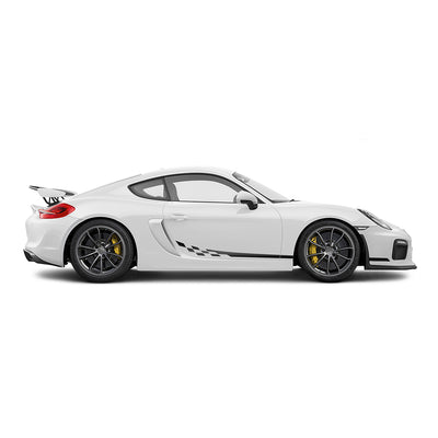 Racelite Designs Porsche Cayman GT4 Checkered Flag Stripe Kit Matte Black