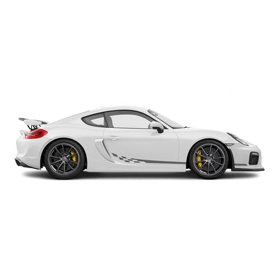 Racelite Designs Porsche Cayman GT4 Checkered Flag Stripe Kit Matte Metallic Silver