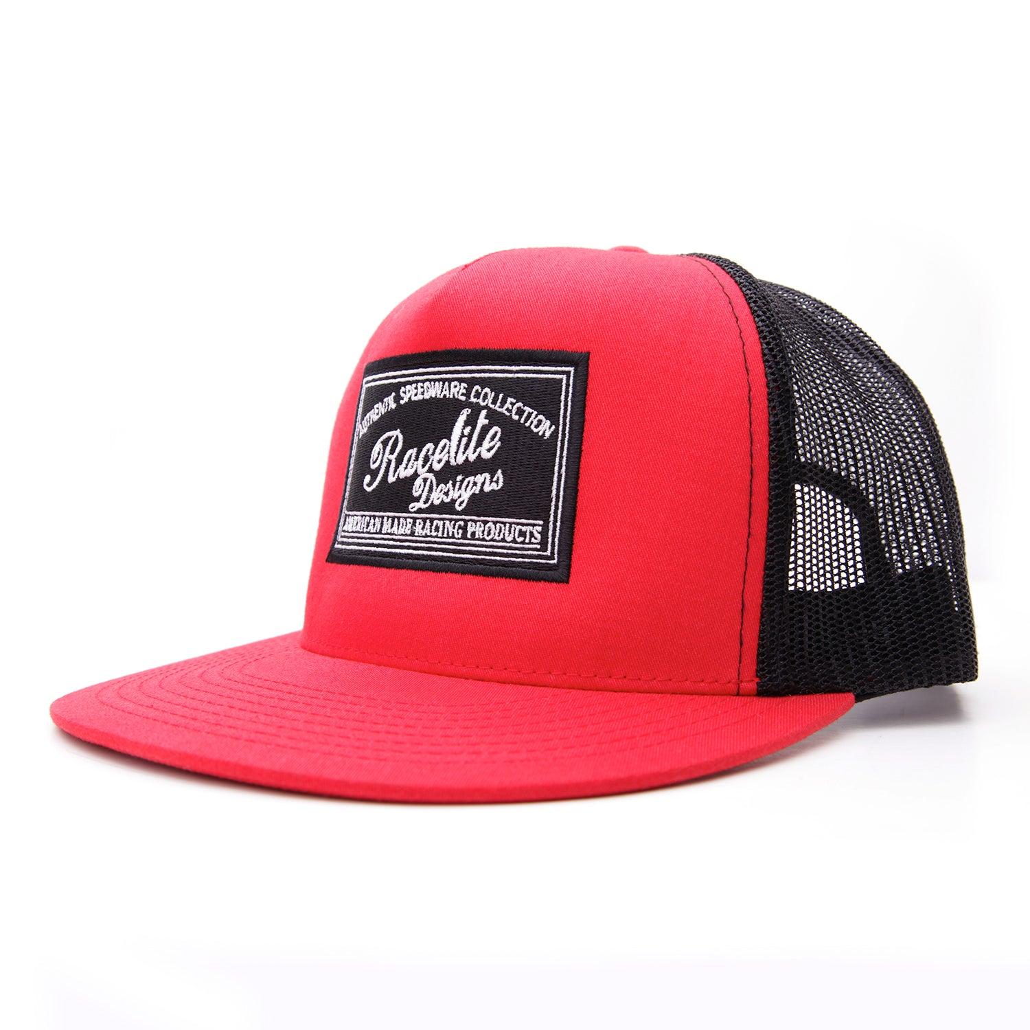 Racelite Designs Speedware Collection Red Flat Brim Side View