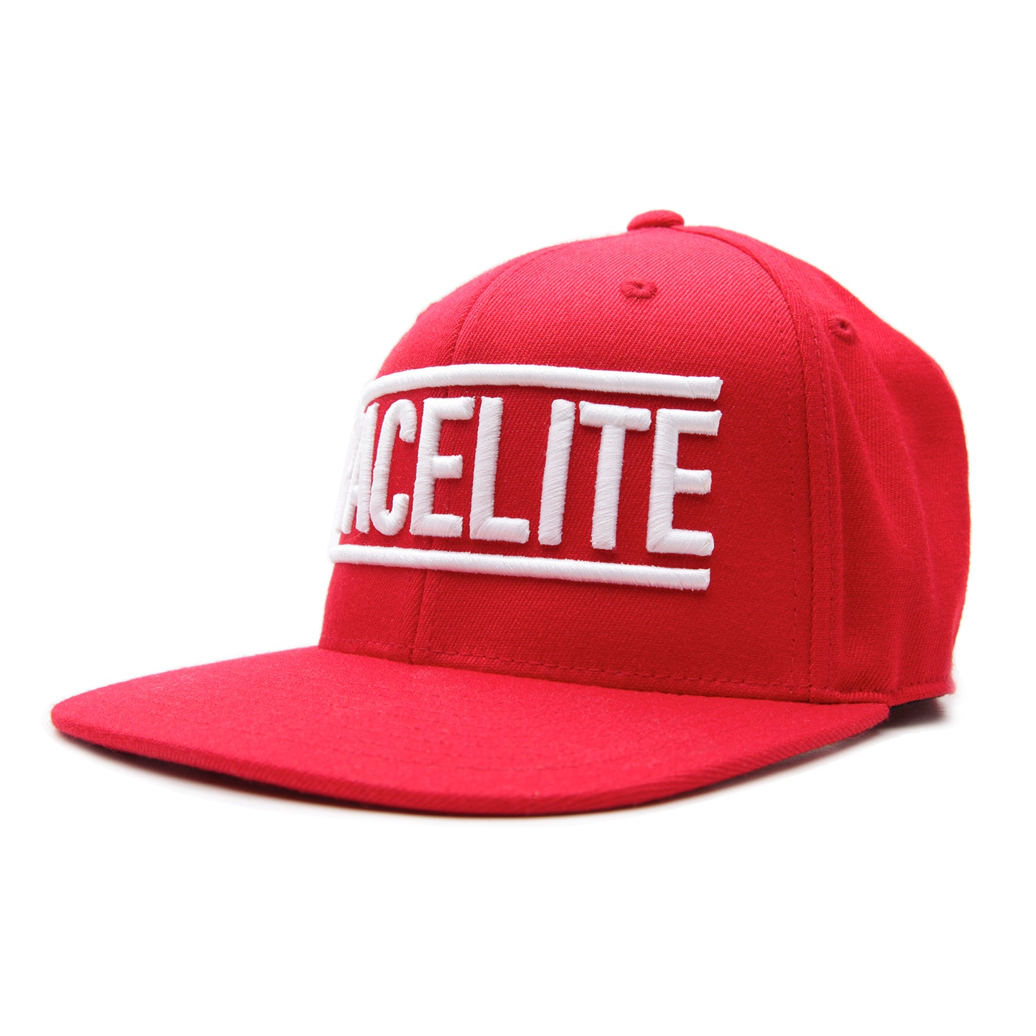Racelite Designs Flat Brim Red Emblem Flex Snap-Back Hat Product View 1