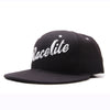 Racelite Designs Script Logo Black Flat Brim Side View