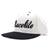 Racelite Designs Script Logo White Flat Brim Side View