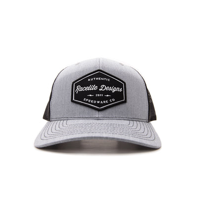 Racelite Designs Authentic Speedware Heather Grey Woven Patch 6 Panel Hat Front View