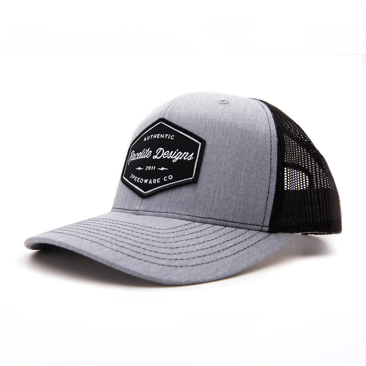 Racelite Designs Authentic Speedware Heather Grey Woven Patch 6 Panel Hat Side View
