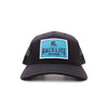Racelite Designs Teal Helmet Badge Black Woven Patch 6 Panel Hat Front Angle Product View