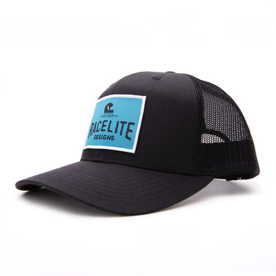 Racelite Designs Teal Helmet Badge Black Woven Patch 6 Panel Hat Side Angle Product View