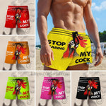 Stop Staring At My Cock Beach Short - Multi color