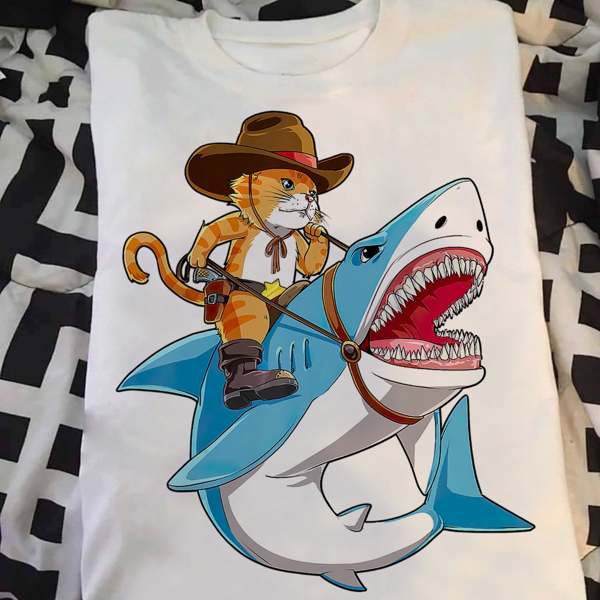 Cowboy Cat Riding Shark T-shirt