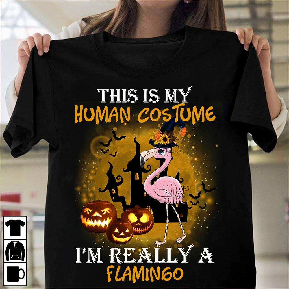 Flamingo Halloween Pumpkin T-Shirt 2