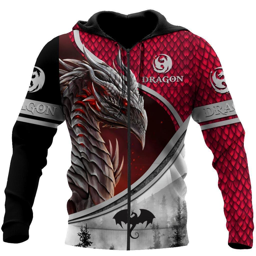 Love Dragon Art 3D Over Printed Zip Hoodie for Men and Women